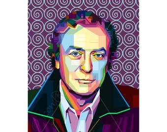 Poster tribute to Michael Caine , personalized gift, wall art, art print, pop art, modern print, home wall decor, canvas wall art, gift