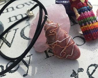Rhodonite Crystal Necklace