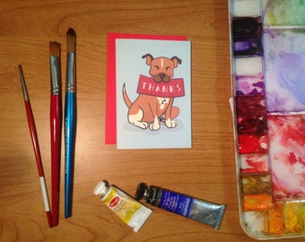 Brindle, Gray or Tan Pitbull Thank You Notes.  One Card or a Set of 6 or 10.