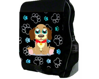 Beagle Puppy on Blue Pawprints Large Black School Backpack