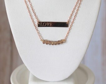 Rose Gold Champagne Beaded Necklace