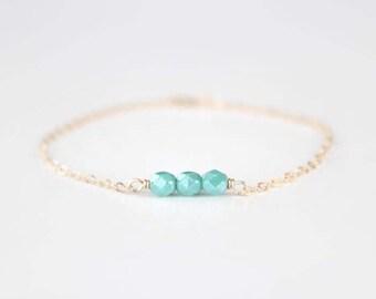 Beaded Bracelet - Sweet Pea - Mint Turquoise