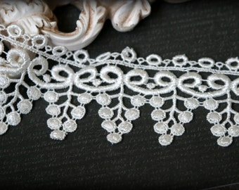 """Tresors  Ivory Venice Bridal Embroidered Fabric Craft Lace Trim LA-022 10% off """"SUMMER10"""" at checkout"""