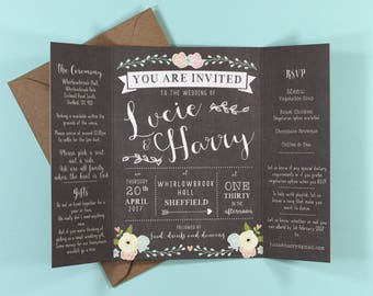 Chalkboard & flower folded wedding Invitation
