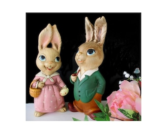 Rabbit Figurines * Man And Lady * NORLEANS KOREA * Set Of Two Large Size Figures