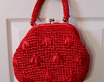 1950s Ruby Red Wicker Handbag