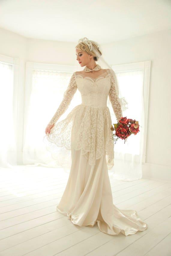 Jahrgang Täuschung Hochzeitskleid Peter Pan Kragen floralen