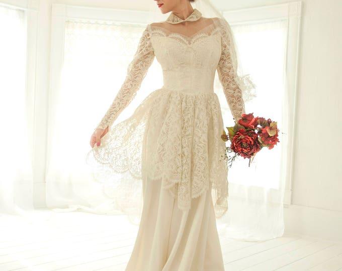 Vintage illusion wedding dress, Peter Pan collar, floral lace long sleeves, peplum bustle sweetheart satin train, 1940s 1950s, XS S
