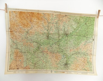 Vale of Trent map  - Large Vintage Map - Bartholomews Map - great home decor - wall hanging