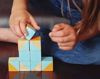 STEM pattern prediction wooden geo blocks – Math sequencing geo blocks - Building Blocks