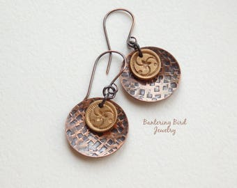 Mixed Metal Celtic Earrings with Triskelion Symbol, Golden Bronze Drop, Hammered Copper, Triple Spiral, Artisan Metalwork Jewelry
