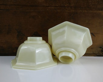 Vintage Glass Lamp Shades / Set of 2 Cream Off White Seven Sided Light Globes