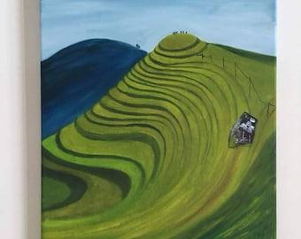 Swirling Green original oil painting
