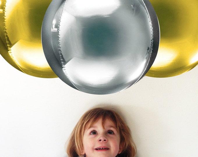 """Orbz Huge Silver Balloon or Orbz Gold Balloon, Orbz Rose Gold 16"""" foil balloon, Gold Wedding Decor, Gold Birthday, Rose Gold Wedding Decor"""