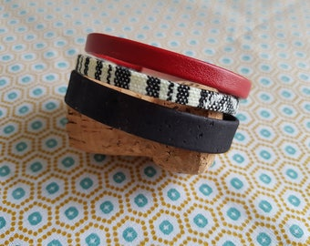 Cork leather and fabric Cuff Bracelet