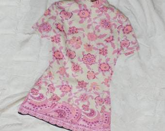 1960s vintage pink and white turtleneck (super mini) wool dress with flower print - Sixties Mod Cute