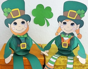 St. Patricks Day   Mr & Ms. Leprechaun Puppet BUNDLE   3D Papercraft   Triskele Paper Ball