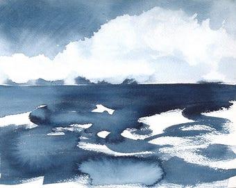 Le 1er novembre, Waterscape abstrait peinture, aquarelle, Indigo Blue