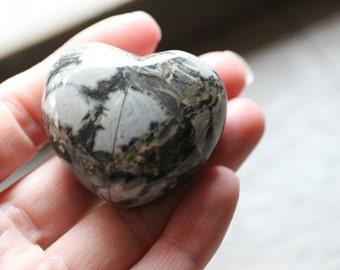 Silver Leaf Jasper Large Puffy Heart #81111
