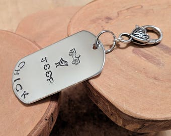 Jeep Chick aluminum dogtag dog tag keyfob keychain hand stamped and polished OIIIIIIIO