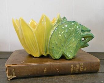 Early 1900's McCoy Figural Sunflower Single Planter, Mint Condition, Vibrant Colors, Vintage McCoy Pottery, Sunflower Planter