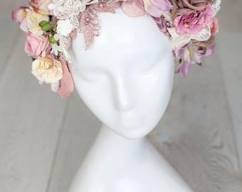 Bohemian headpiece, flowers, beaded lace, peach, pink, beige
