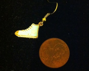 Men's Baby Blue and Gold High Top Sneaker Earring, Baby Blue and Gold Sneaker Earring