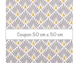 Coupon fat quarter 50 cm x 50 cm, fabric scales grey, fabric art deco