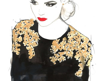 Print from original watercolor, pen, charcoal fashion illustration by Jessica Durrant titled All that glitters is not gold