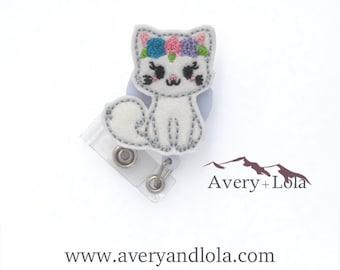 Girly Cat Badge Reel, Floral Cat Badge Reel, Nurse Badge Reel, Cat Badge Reel, Cat ID Holder, ID Badge Holder, Nurse Gift, Vet Gift