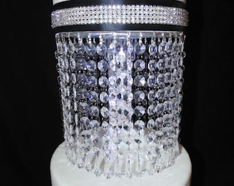 Diamond Drop Acrylic Crystal Cake Stand with LED Light