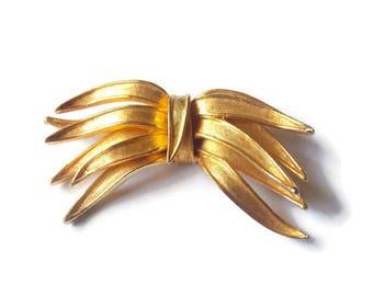 Gold Tone Capri Brooch Leaf shaped Capri pin gold tone brooch leaf brooch