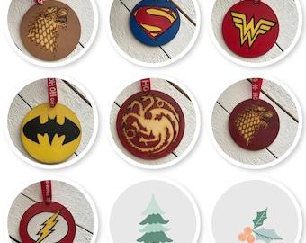 Christmas, Christmas Ornaments, Holiday, Nerd, Geek, Fandom, GOT, Super Hero, Christmas Tree Decorations, Christmas Tree