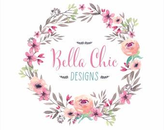 Premade Logo Design-Boho Logo-Logo Design-Watercolor Logo-Party Logo-Floral Logo-Flower Logo-Crafty Boutique-Balloon Logo-Custom Logo Design