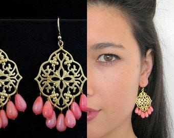 Coral Gold Filigree Chandelier Earrings