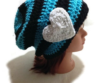 Heart Hat, Black and Blue, Valentines Day Hat, Heart Beanie, Teen Gifts, Hat for Teens, Valentines Gift for Teen Girl, Winter Hat, Hearts