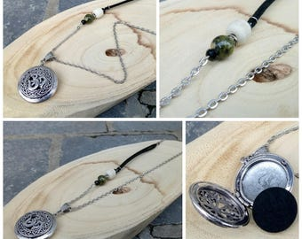 Necklace for aromatherapy or Fragrance Diffuser in silvery metal, wood bead, glass Pearl green, Black Suede