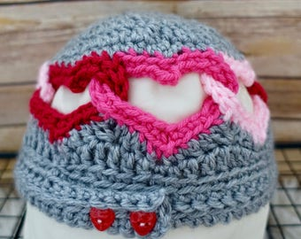 Valentine's Linked Hearts Crochet Hat
