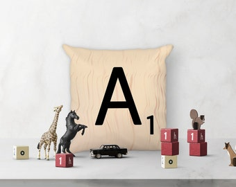 """Decorative Scrabble Pillow - Letter A - 18"""" x 18"""" Square Accent Pillow - each letter with unique wood pattern - cover and insert included"""