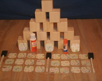 "26 - 2"" baby block kit, wood block, unfinished wood blocks, wooden blocks, craft blocks, baby blocks,"