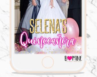 QUINCEANERA SNAPCHAT GEOFILTER, Quinceanera Party, Quince, Quinceanera Decor, Quinceanera Invite, Custom Snapchat Geofilter, Birthday Filter