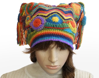 Crochet Beanie, Harlequin Hat, Jester Beanie, Freeform Crochet Multi colour Rainbow OOAK crochet hat with Tassels