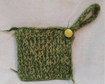 Green and yellow wool wristlet