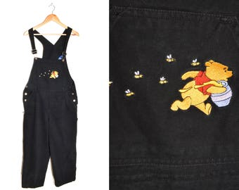 90s Winnie the Pooh Denim Overalls Women's Large Embroidered Black Bees Honey Hunny