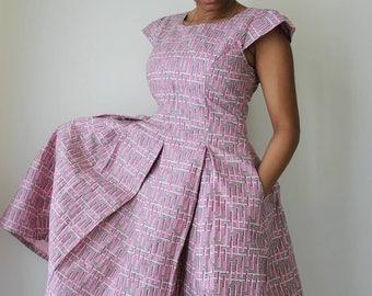 Grey & Rose Box Pleat Dress