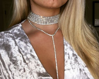 4-5-6 Row Diamond Choker / Rhinestone Choker / Sexy Choker/ Rhinestone Necklace/ Diamond Necklace / Prom Choker / Prom Accessories /