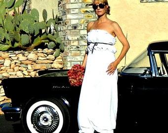 Bridal Separates-Bridal Top-Wedding Top-Bride Clothes-Bride Clothing-Bonjour Ruffle Bubble Ribbon Top-White, Off White, Black Tissue Linen