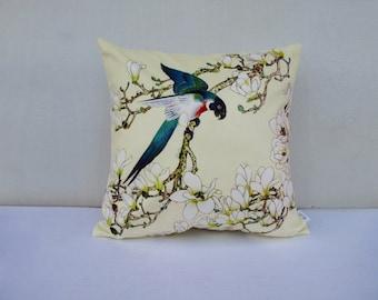 Flower Bird Pillowcase Flowers Pillow Bird Cushion Sitting Birds Cream Pillowcase