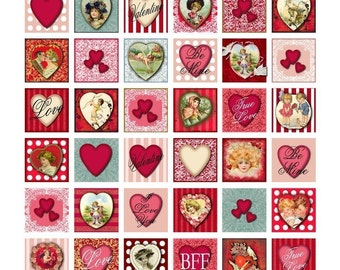 Hearts and More Hearts Valentine Collage Sheet - One Inch Squares - Shades of Red and Pink - Printable - Instant Download