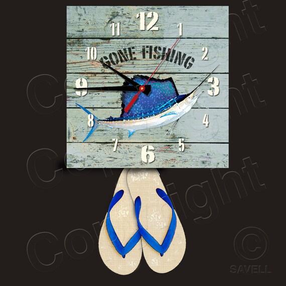 Gone Fishing Clock with Flip Flop Pendulum • Sailfish Clock